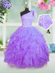 Super One Shoulder Lavender Sleeveless Floor Length Beading and Ruffles Lace Up Kids Formal Wear