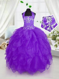 Modern Floor Length Purple Girls Pageant Dresses Halter Top Sleeveless Lace Up