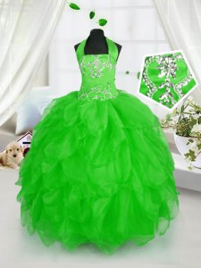 Elegant Organza Lace Up Halter Top Sleeveless Floor Length Kids Formal Wear Appliques and Ruffles