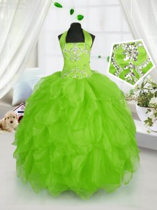 Ball Gowns Halter Top Sleeveless Organza Floor Length Lace Up Beading and Ruffles Kids Formal Wear