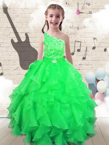Exquisite One Shoulder Floor Length Lace Up Little Girls Pageant Dress Apple Green for Party and Wedding Party with Beading and Ruffles