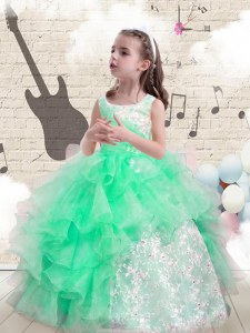 Scoop Sleeveless Lace Up Floor Length Beading and Ruffles Kids Pageant Dress