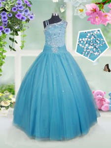 Custom Fit Floor Length Ball Gowns Sleeveless Teal Little Girl Pageant Gowns Side Zipper