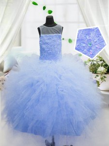 Scoop Floor Length Zipper Child Pageant Dress Baby Blue for Party and Wedding Party with Beading and Ruffles