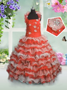 Beading and Appliques and Ruffled Layers Kids Formal Wear Coral Red Lace Up Sleeveless Floor Length