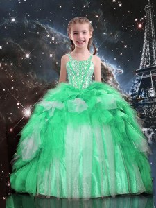 Lovely Apple Green Sleeveless Organza Lace Up Party Dresses for Party and Wedding Party