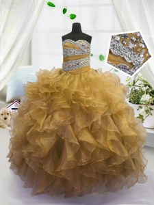 Beading and Ruffles Kids Pageant Dress Gold Lace Up Sleeveless Floor Length