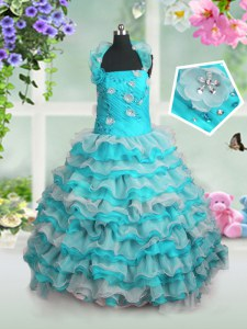 Blue And White Sleeveless Floor Length Beading and Appliques and Ruffled Layers Lace Up Little Girls Pageant Dress
