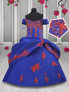 Off the Shoulder Floor Length Ball Gowns Sleeveless Royal Blue Little Girl Pageant Dress Lace Up