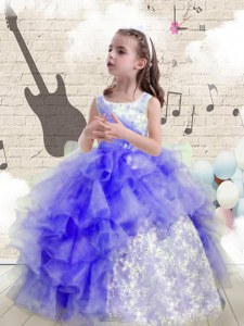 Blue Organza Lace Up Scoop Sleeveless Floor Length Pageant Gowns For Girls Beading and Ruffles