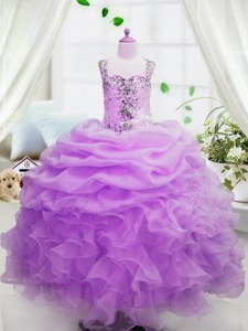 Latest Square Sleeveless Organza Kids Formal Wear Beading and Ruffles and Pick Ups Zipper