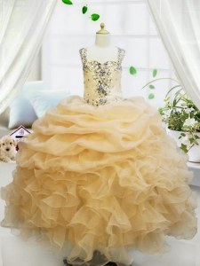Cute Organza Straps Sleeveless Zipper Beading and Ruffles and Pick Ups Child Pageant Dress in Champagne