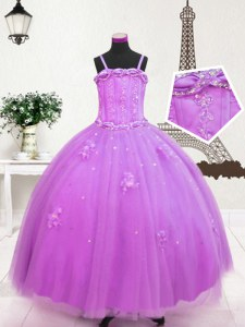 Lilac Spaghetti Straps Neckline Beading and Appliques Little Girl Pageant Dress Sleeveless Zipper