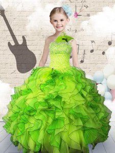 One Shoulder Organza Lace Up Little Girls Pageant Dress Sleeveless Floor Length Beading and Ruffles