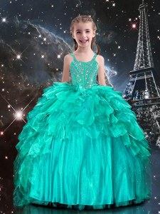 Charming Floor Length Aqua Blue Little Girls Pageant Gowns Organza Sleeveless Beading and Ruffles