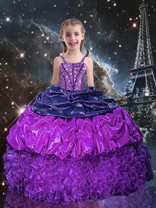 Floor Length Eggplant Purple Little Girl Pageant Gowns Organza Sleeveless Beading and Ruffles and Pick Ups