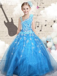 Baby Blue Sleeveless Floor Length Appliques Lace Up Little Girls Pageant Dress Wholesale