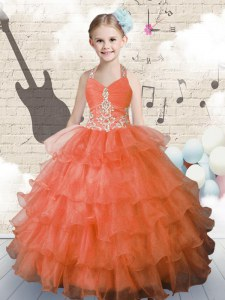 Adorable Halter Top Sleeveless Beading and Ruffled Layers Lace Up Little Girls Pageant Gowns