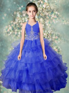 Baby Blue Zipper Halter Top Beading and Ruffled Layers Kids Pageant Dress Organza Sleeveless