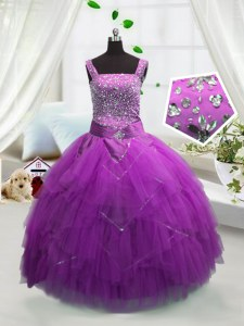 Latest Fuchsia Ball Gowns Tulle Straps Sleeveless Beading and Ruffles Floor Length Lace Up Little Girls Pageant Dress