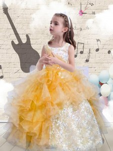 Scoop Orange Ball Gowns Beading and Ruffles Pageant Gowns For Girls Lace Up Organza Sleeveless Floor Length