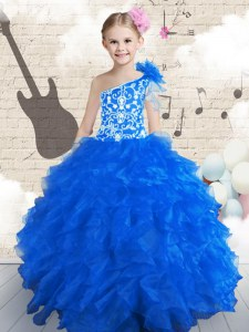 Simple Floor Length Navy Blue Little Girls Pageant Gowns One Shoulder Sleeveless Lace Up