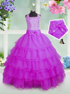 On Sale Rose Pink Pageant Gowns For Girls Party and Wedding Party and For with Beading and Ruffled Layers Square Sleeveless Zipper