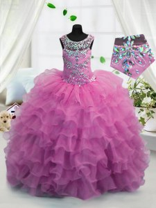 Admirable Ruffled Scoop Sleeveless Lace Up Little Girl Pageant Gowns Fuchsia Organza