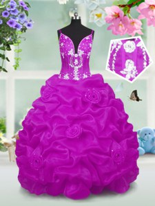 Fuchsia Sleeveless Floor Length Beading and Appliques and Pick Ups Lace Up Pageant Gowns For Girls