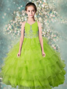 Halter Top Sleeveless Floor Length Beading and Ruffled Layers Zipper Girls Pageant Dresses with Yellow Green
