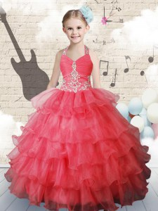 Halter Top Sleeveless Kids Pageant Dress Floor Length Ruffled Layers Coral Red Organza