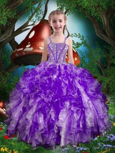 Pretty Sleeveless Lace Up Floor Length Beading and Ruffles Party Dresses