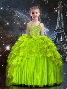 Yellow Green Sleeveless Floor Length Beading and Ruffles Lace Up Child Pageant Dress