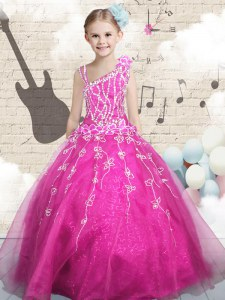 Exquisite Sleeveless Tulle Floor Length Lace Up Little Girls Pageant Dress Wholesale in Hot Pink with Beading