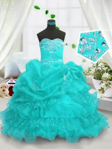 Aqua Blue Ball Gowns Sweetheart Sleeveless Organza Floor Length Lace Up Beading and Ruffled Layers and Pick Ups Little Girls Pageant Gowns