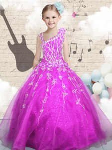 Classical Fuchsia Sleeveless Floor Length Beading and Appliques and Hand Made Flower Lace Up Little Girl Pageant Gowns