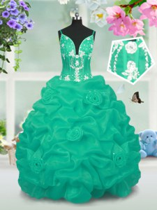 Turquoise Ball Gowns Beading and Pick Ups Kids Pageant Dress Lace Up Taffeta Sleeveless Floor Length
