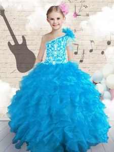 Ball Gowns Pageant Gowns For Girls Baby Blue One Shoulder Organza Sleeveless Floor Length Lace Up