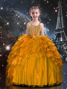 Stylish Floor Length Orange Little Girls Pageant Dress Wholesale Organza Sleeveless Beading and Ruffles