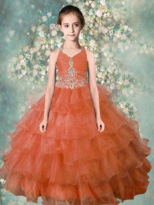 Excellent Halter Top Sleeveless Zipper Floor Length Beading and Ruffled Layers Pageant Gowns For Girls