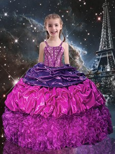 Beauteous Pick Ups Purple Sleeveless Organza Lace Up Little Girl Pageant Gowns for Party and Wedding Party
