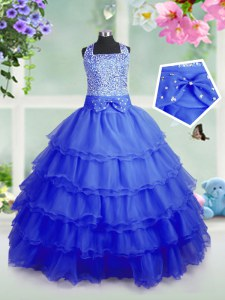 Attractive Royal Blue Organza Zipper Square Sleeveless Floor Length Girls Pageant Dresses Beading and Ruffled Layers
