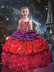 Sleeveless Organza Floor Length Lace Up Little Girl Pageant Gowns in Red with Beading and Ruffles and Pick Ups