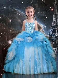 Sleeveless Floor Length Beading and Ruffles Lace Up Juniors Party Dress with Baby Blue