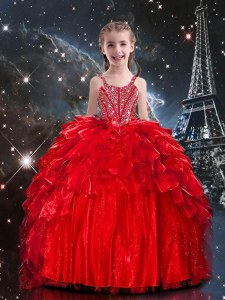 Red Ball Gowns Spaghetti Straps Sleeveless Organza Floor Length Lace Up Beading and Ruffles Little Girls Pageant Dress