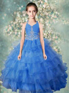 Halter Top Baby Blue Sleeveless Floor Length Beading and Ruffled Layers Zipper Child Pageant Dress