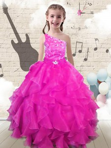 Trendy One Shoulder Floor Length Lace Up Little Girls Pageant Gowns Hot Pink for Party and Wedding Party with Beading and Ruffles