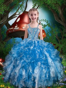 Floor Length Blue Little Girl Pageant Gowns Spaghetti Straps Sleeveless Lace Up