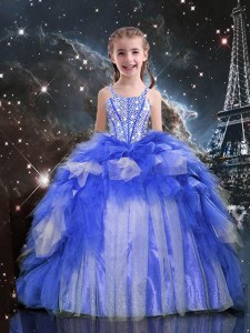 Sleeveless Organza Floor Length Lace Up Little Girl Pageant Gowns in Blue with Beading and Ruffles