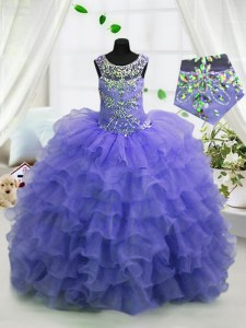 Perfect Lavender Ball Gowns Organza Scoop Sleeveless Beading and Ruffled Layers Floor Length Lace Up Child Pageant Dress